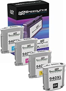 Speedy Inks Remanufactured Ink Cartridge Replacement for HP 940XL High-Yield (1 Black, 1 Cyan, 1 Magenta, 1 Yellow, 4-Pack)