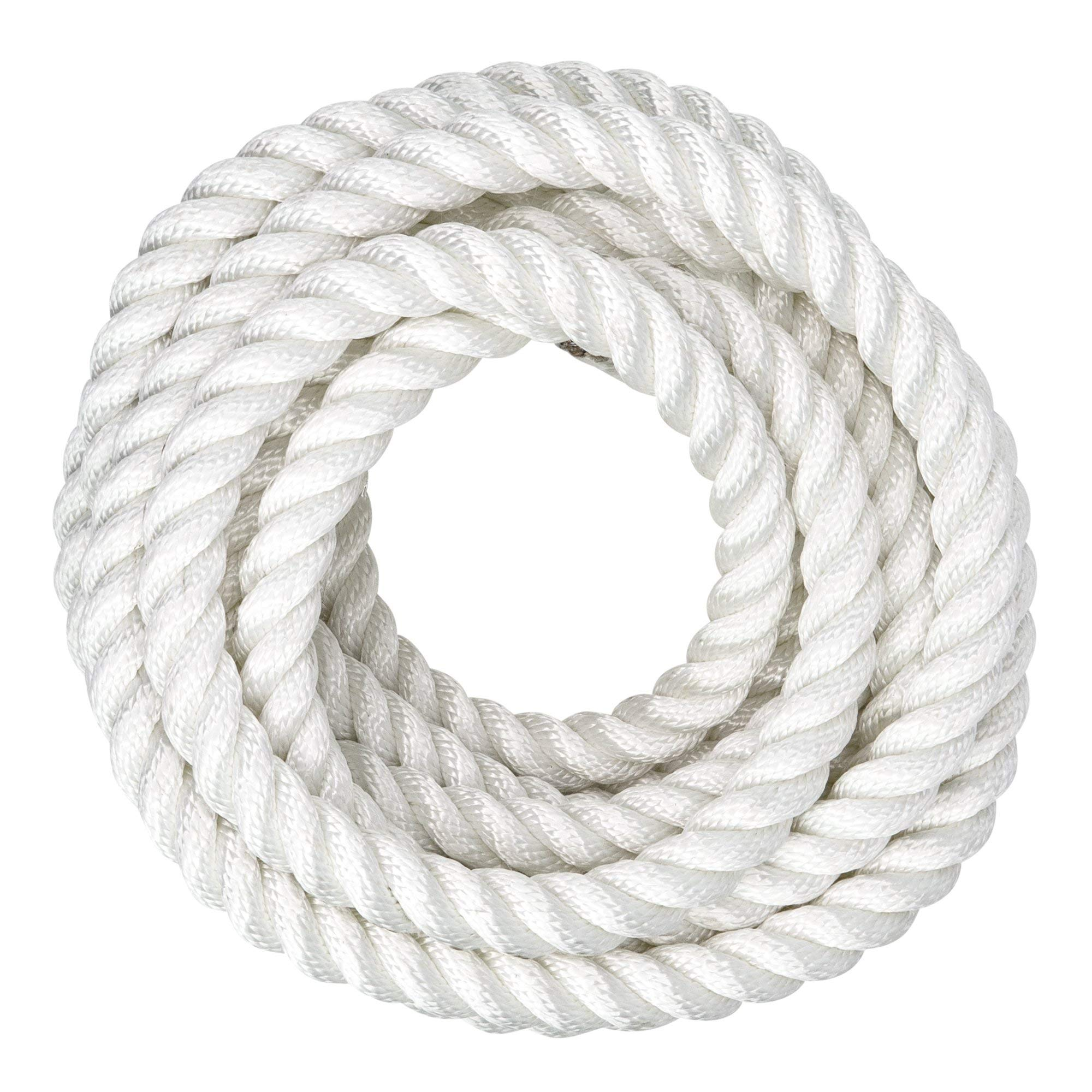 and Weather Conditions 1 Inch DIY Projects Resistant to UV Chemical Arborist 50 Feet Twisted 3 Strand Line with Polyolefin Core Marine Abrasion Poly Dacron Rope Commercial Moisture