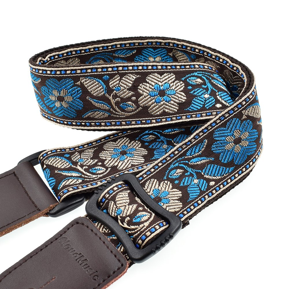 CLOUDMUSIC Colorful Hawaiian Vintage Ethnic Cotton Ukulele Strap Blue For Soprano Concert Tenor Baritone Strings Instruments (Modera) CM-S07
