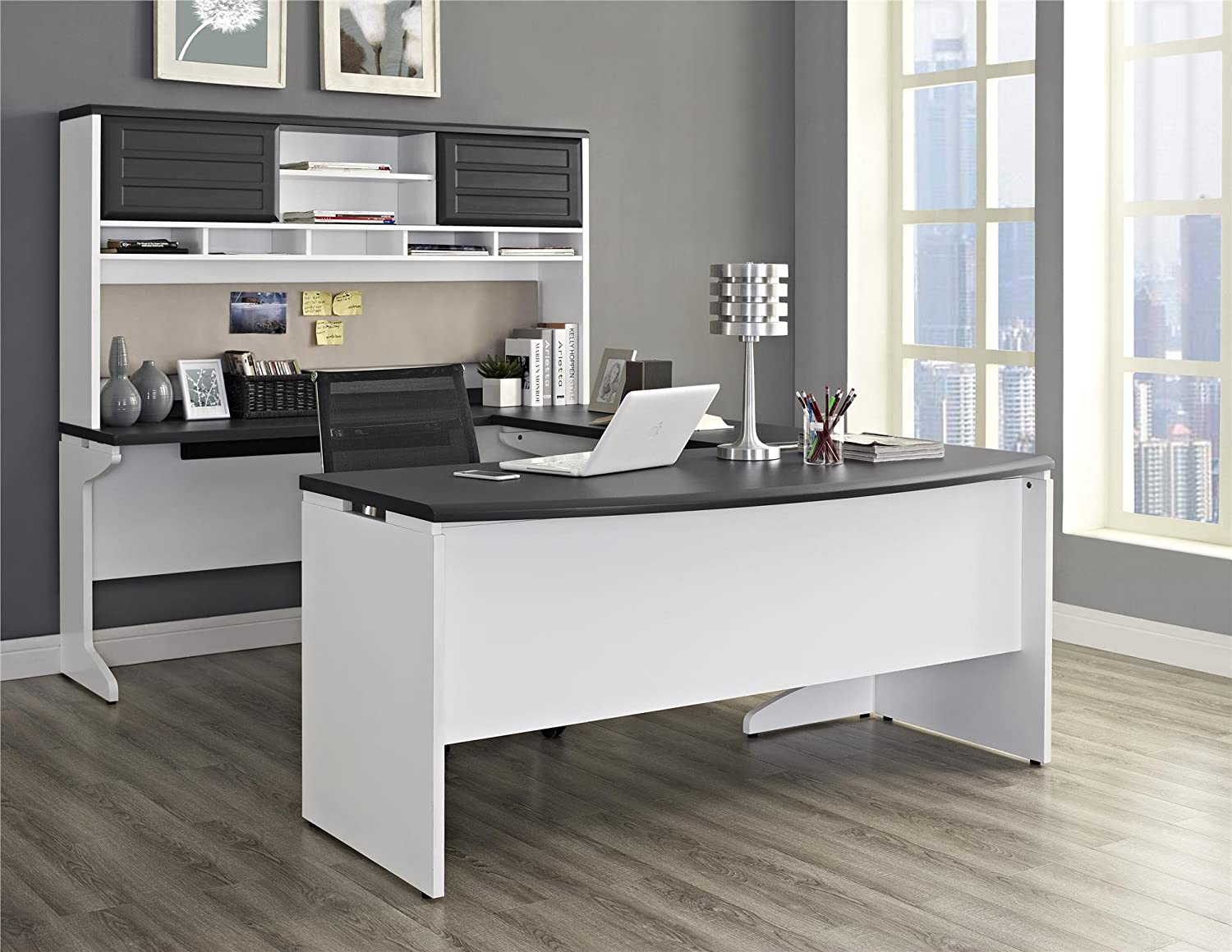 Perfect Amazon.com: Ameriwood Home Pursuit U Shaped Desk With Hutch Bundle, Gray:  Kitchen U0026 Dining