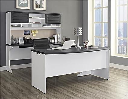 Ameriwood Home Pursuit U-Shaped Desk with Hutch Bundle, Gray