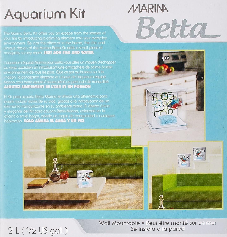 Amazon Marina Betta Aquarium Starter Kit Geo Bubbles Fish