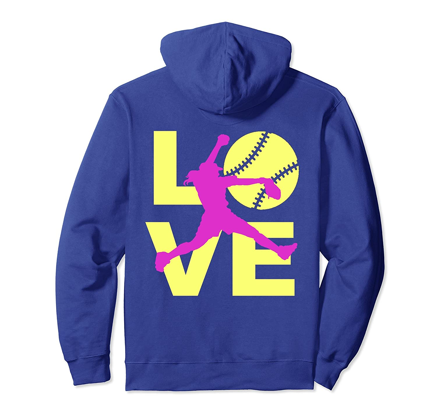LOVE Softball Player Fast Pitch Teen Girls Women Hoodie-TH