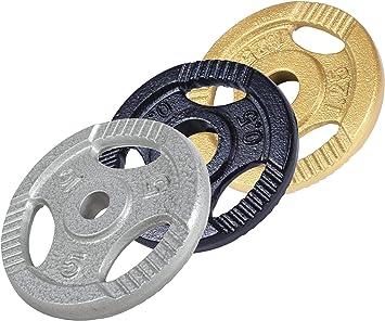 0,5-20 kg Gewichte mit 30//31 mm Bohrung Schwarz//Silber//Gold GORILLA SPORTS/® Hantelscheiben Einzeln//Set Gusseisen Gripper