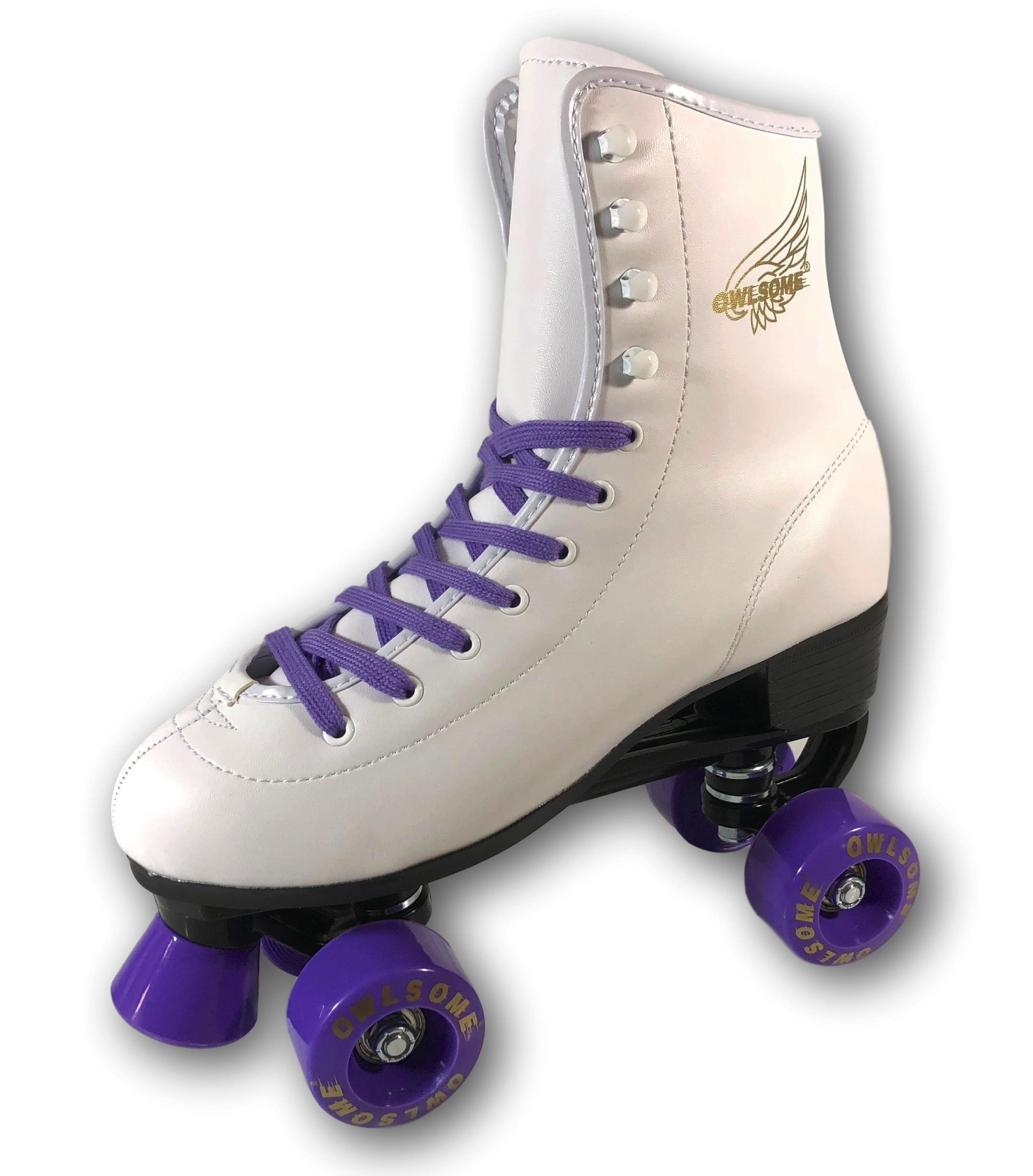 Owlsome Classic High Top Boot Style Soft Faux Leather Roller Skate For Adult & Youth (White/Purple, 8 (10.43''/26.7cm))