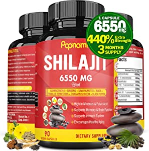 Organic Shilajit Extract Capsules 6550mg with Ashwagandha, Ginseng, Saw Palmetto, Maca, Tribulus, Chaga, Black Pepper Trace Minerals Fulvic Acid Immune Support, Brain Boost Supplement, 3 Months Supply