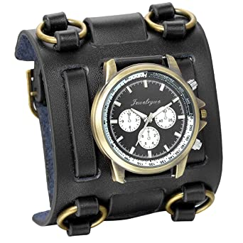 Amazon.com: JewelryWe Hip-hop Gothic Leathernk Style Mens Wrist Watch 74MM Wide Black Leather Cuff Watches: Watches