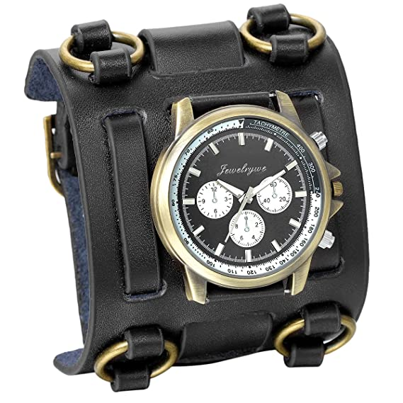 JewelryWe Hip-hop Gothic Leathernk Style Mens Wrist Watch 74MM Wide Black Leather Cuff Watches