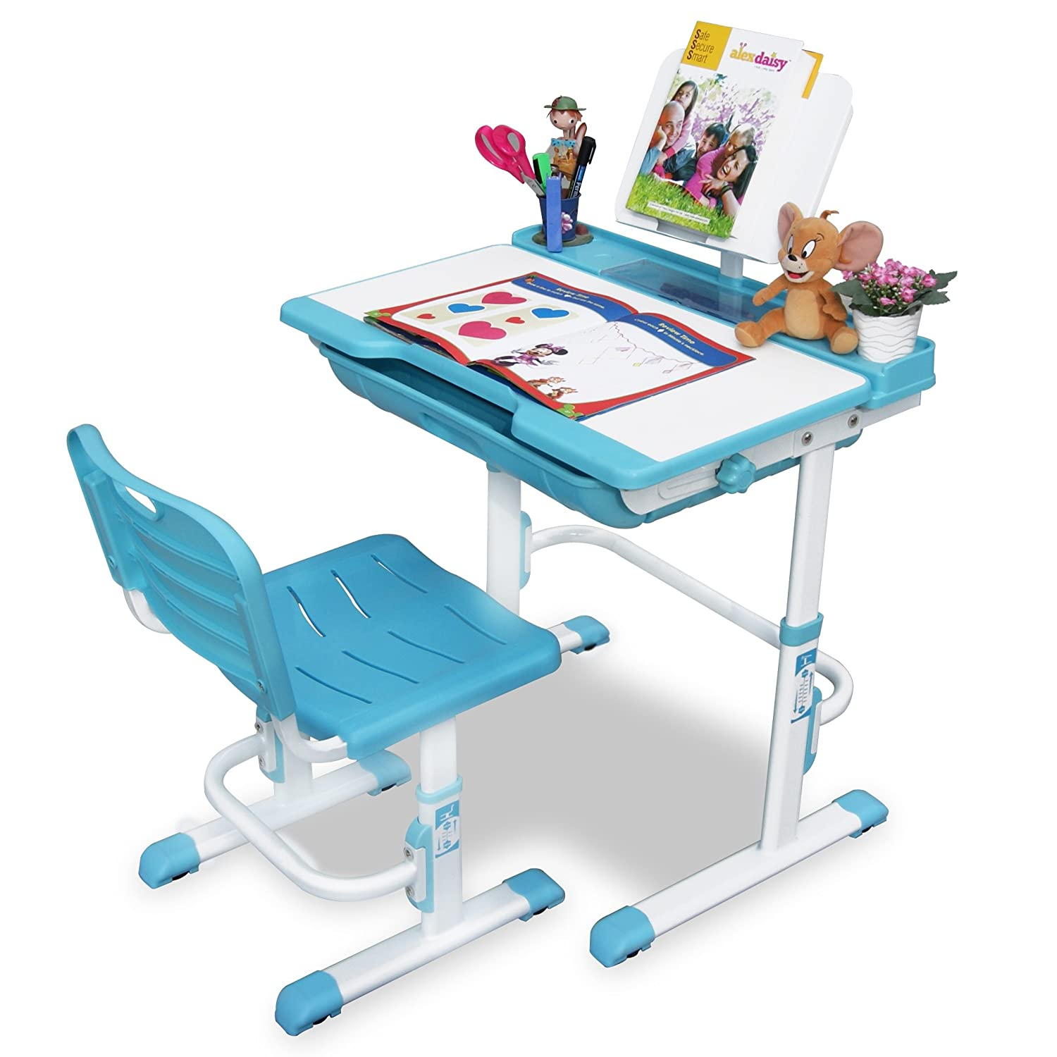Alex Daisy Pluto Kids Height Adjustable Study Table U0026 Chair Set   Blue:  Amazon.in: Home U0026 Kitchen