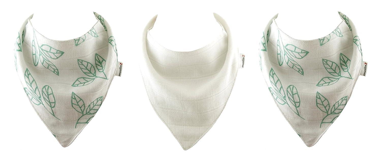 MuslinZ 3 PK Baby Bandana Dribble Bibs Newborn Teething Bib 2 Layers Soft Absorbent Muslin Grey Mist