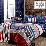 Catherine Lansfield Stars and Stripes - Juego de funda nórdica y funda de almohada (135 x 200 cm y 50 x 75 cm) para cama…