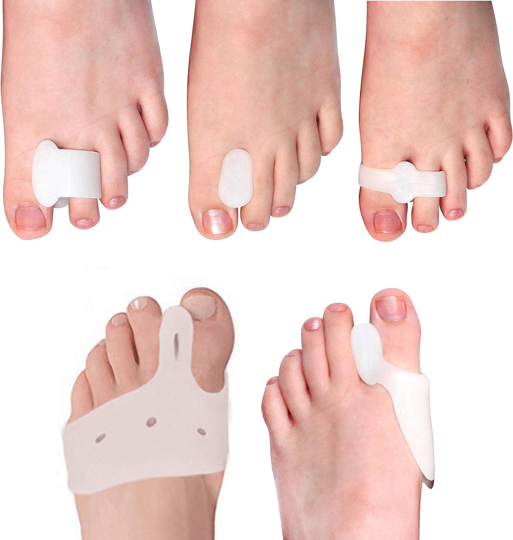 (10 Pcs) 5 pares juanete corrector de dedo gordo pie - Kit separador dedo pie - Férulas de juanete para alivio juanete nocturno y alivio dolor de Hallux Valgus - Manga juanete para hombres y mujeres