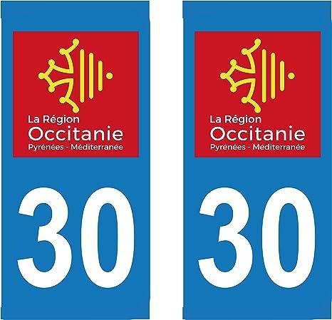 Supstick 2 Sticker Selbstklebend Nummernschild Dept 30 Region Okzitanien Format Rechteckig Auto