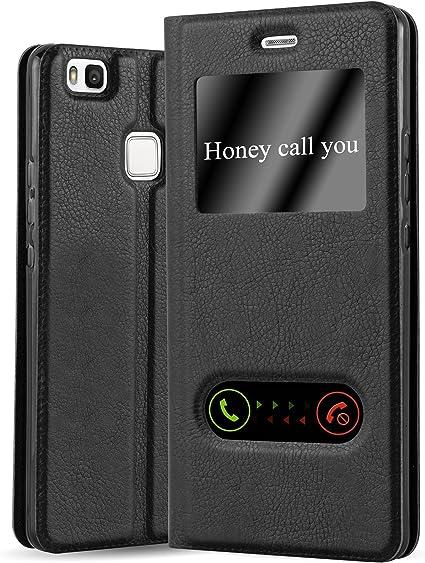 Cadorabo Custodia Libro per Huawei P9 Lite in Nero COMETA - con Funzione Stand e Chiusura Magnetica - Portafoglio Cover Case Wallet Book Etui ...