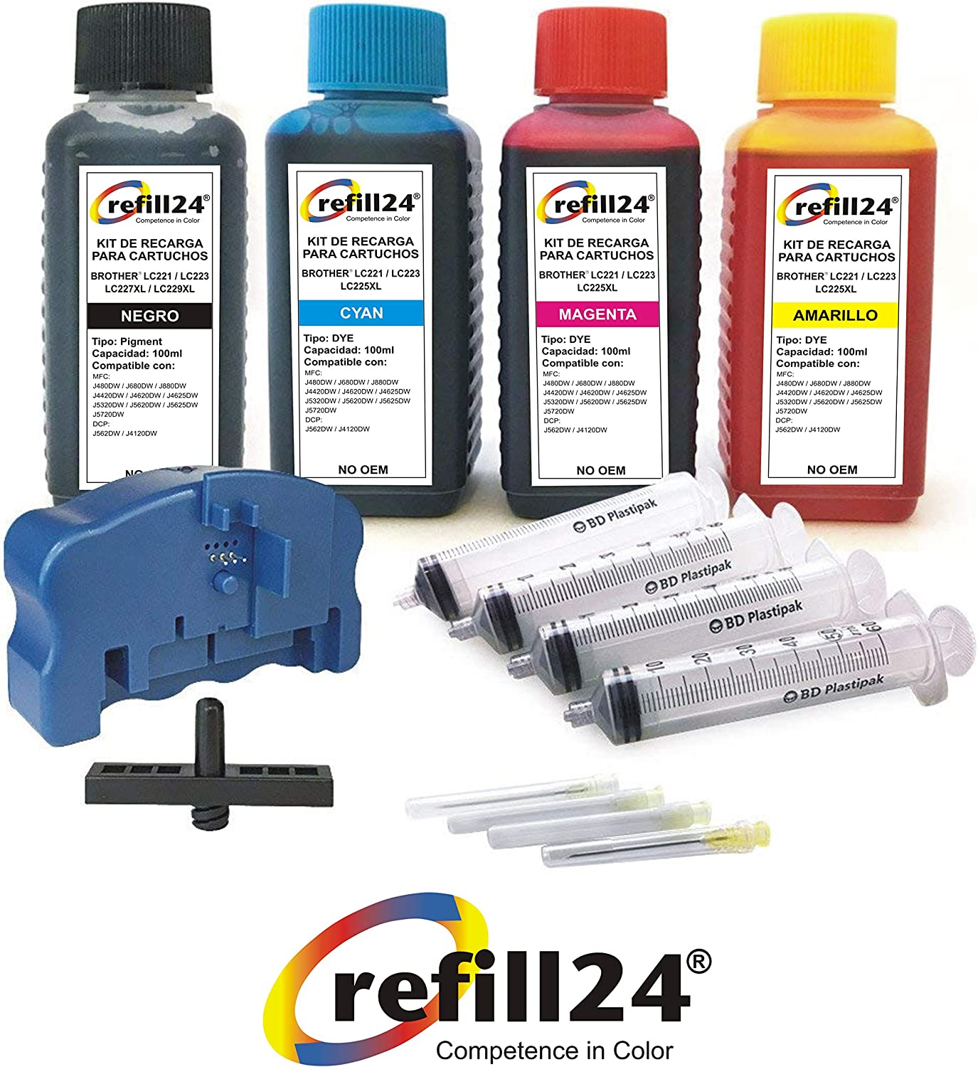 Kit de Recarga para Cartuchos de Tinta Brother 221, 223, 225XL ...