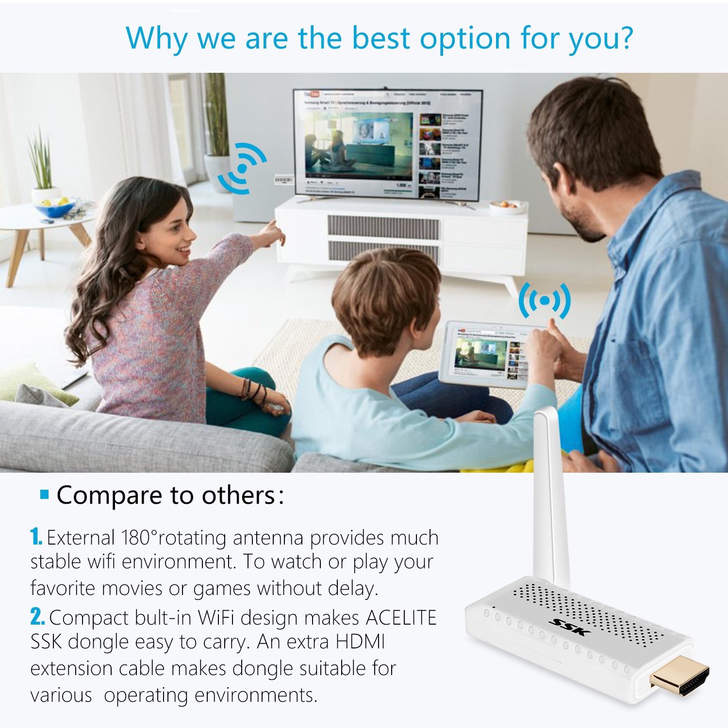 Miracast Dongle/Airplay Dongle/WiFi Display Dongle, 1080P 2.4G/5G Wireless Display Adapter Support HDMI and WIFI Cast Media, Image, PPT to TV, Projector, and Monitor from Android/iOS/Mac/Windows by ACELITE (Image #4)