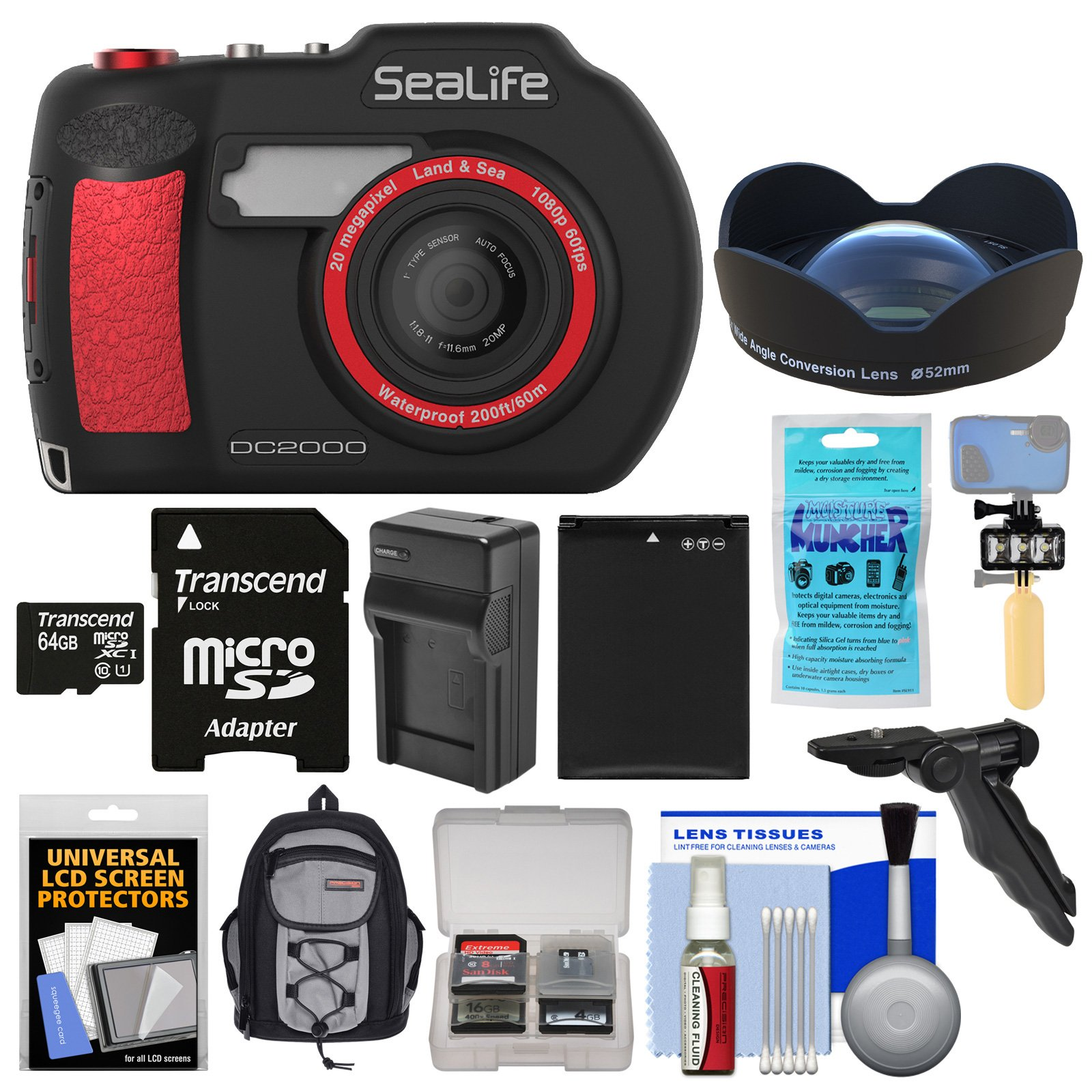 SeaLife DC2000 HD Underwater Digital Camera with Wide Angle Lens + 64GB Card + Backpack + Video Light + Buoy Handle + Battery + Kit by SeaLife