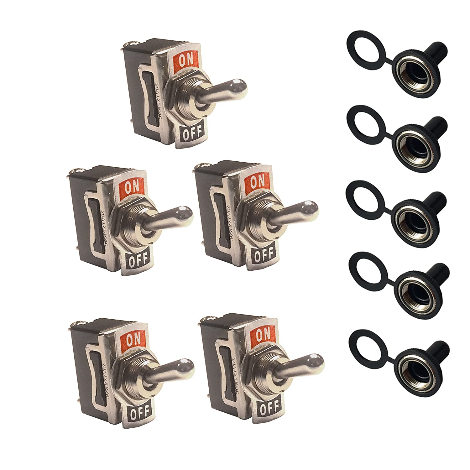 12V Toggle Switches with Waterproof Rubber Boot Covers (5 Pack) — SPST 2-Pin ON-OFF MGI