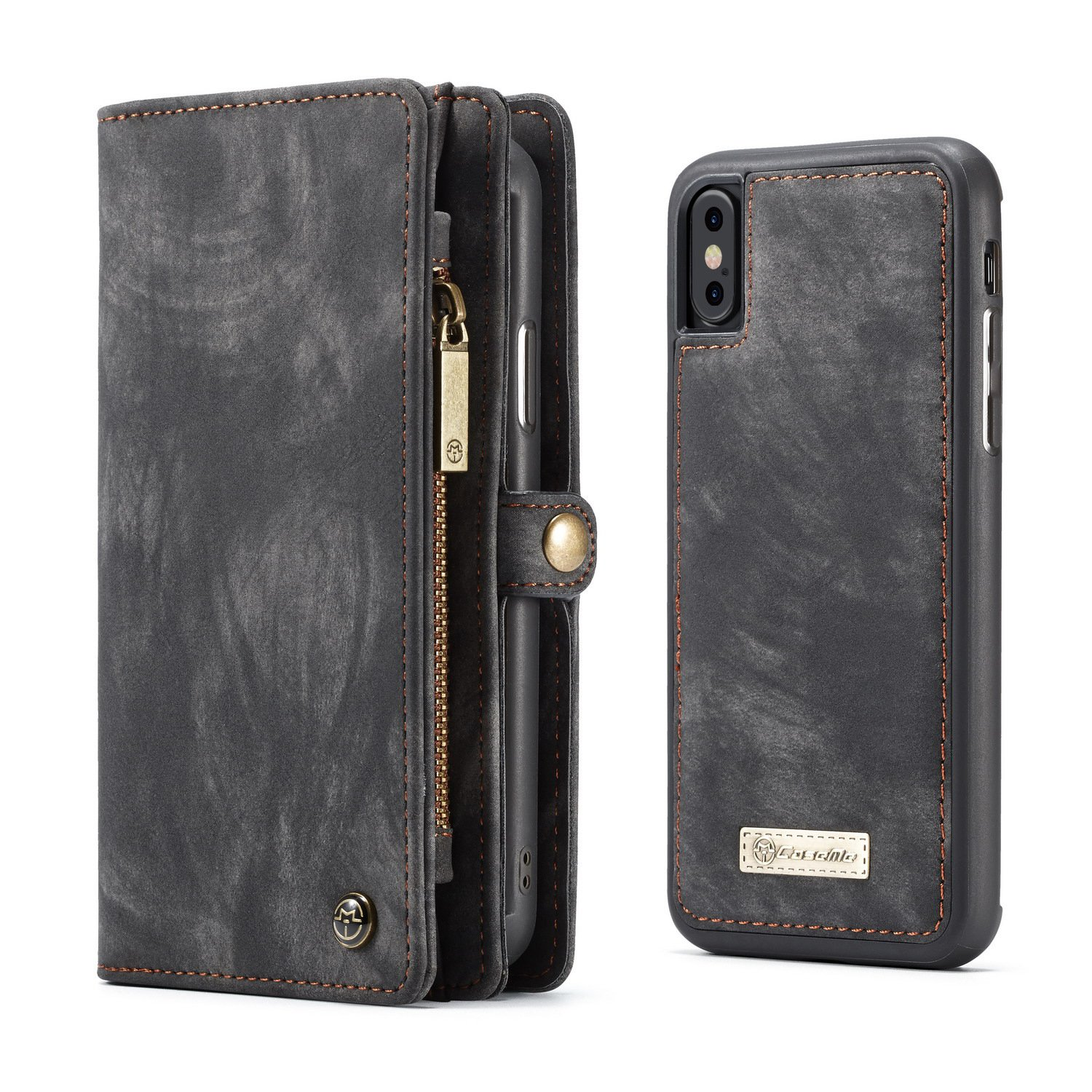 Yamoo iPhone X Case Combo iPhone X Wallet Leather Case with Detachable Magnetic Hard Case, Card Holder (Black), iPhone X 3D Full Coverage HD Clear 9H Tempered Glass Screen Protector