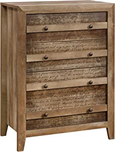 "Sauder Dakota Pass 4-Drawer Chest, L: 32.68"" x W: 17.52"" x H: 43.23"", Craftsman Oak"