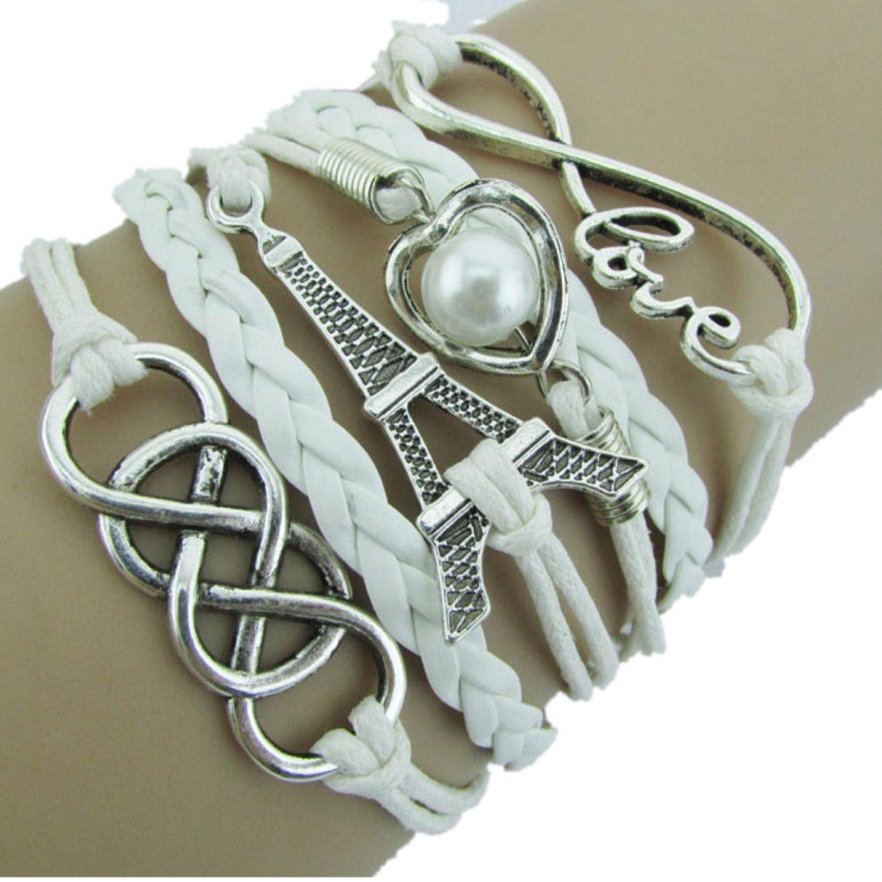 Challyhope Clearance Clearance! Vintage LOVE Heart Eiffel Tower Multilayer Cuff Bangle Handmade Wove Friendship Charm Leather Bracelet