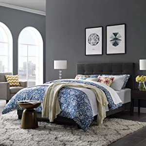 Modway Amira Tufted Fabric Upholstered King Bed Frame With Headboard In Gray