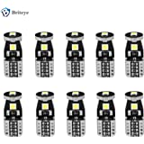 Briteye 6000K White 194 LED Light Bulb Extremely Bright 168 175 2825 192 T10/W5W LED Replacement Bulb 3030SMD Erro Free for Car Interior Door courtesy Rear Market License Plate Light Bulbs (10 PCS)