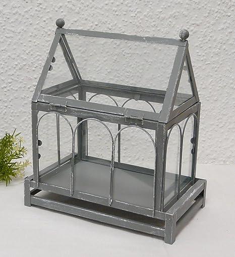 Amazon De Vintage Deko Gewachshaus Haus Grau Gekalkt Aus Metall