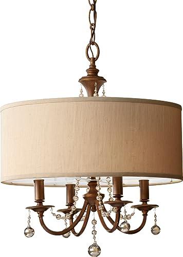 Feiss F2727 4FG Clarissa Crystal Drum Chandelier Lighting, Gold, 4-Light 21 W x 25 H 240watts