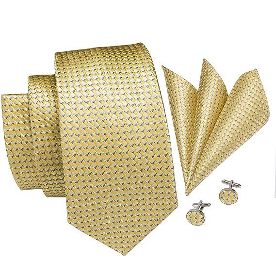 Hi-Tie - Juego de corbata cuadrada y gemelos para hombre, diseño a ...