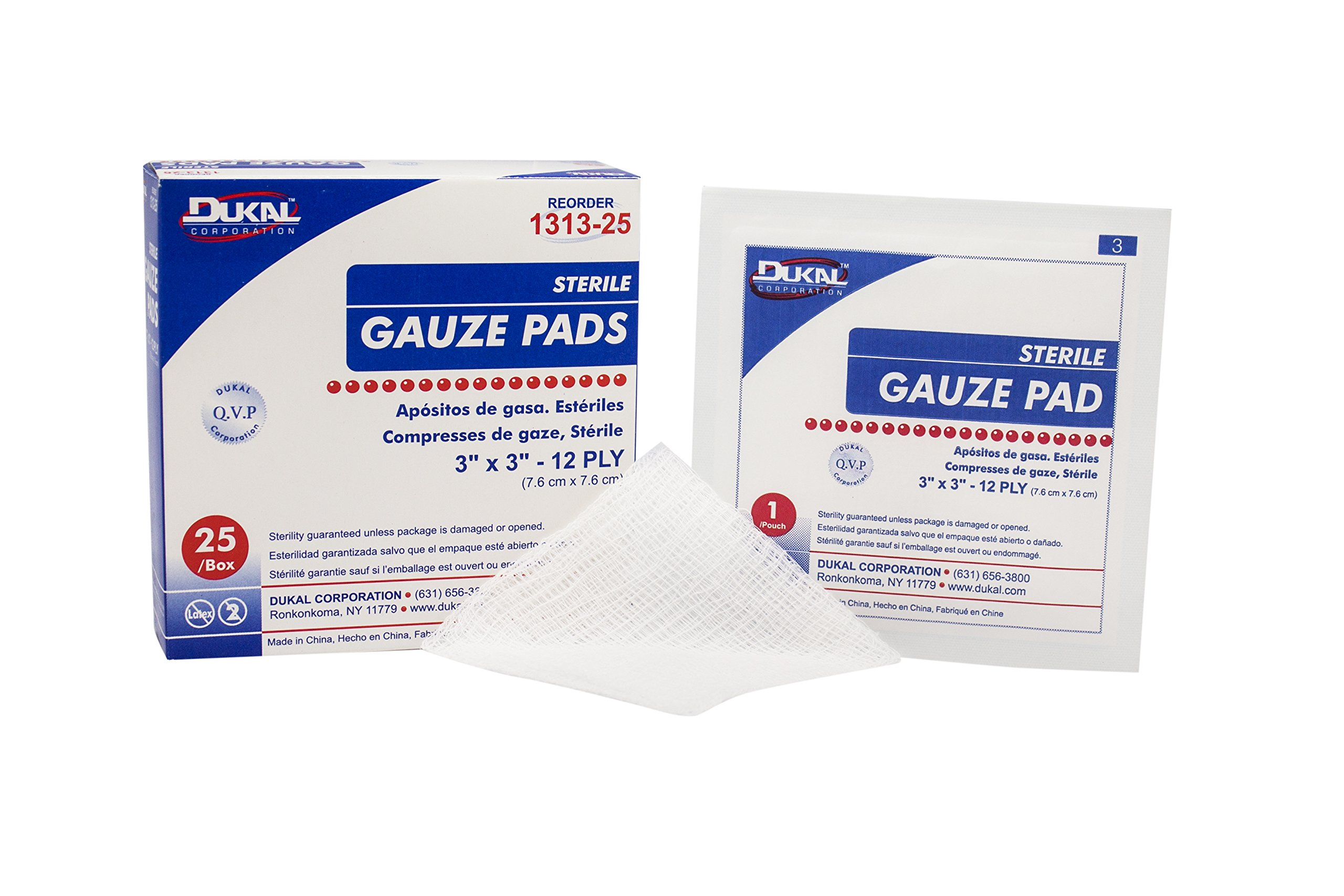 Dukal 1312-36B Gauze Pad, 12-Ply, Sterile, 3'' x 3'' (Pack of 3600)