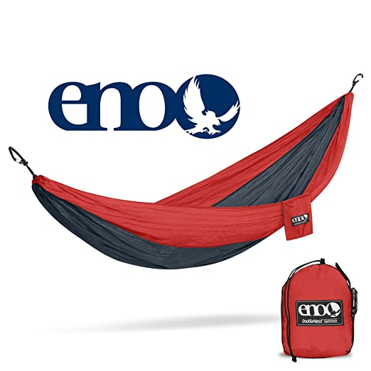 Eagles Nest Outfitters ENO DoubleNest Hammock, Portable Hammock for Two, Red/Charcoal