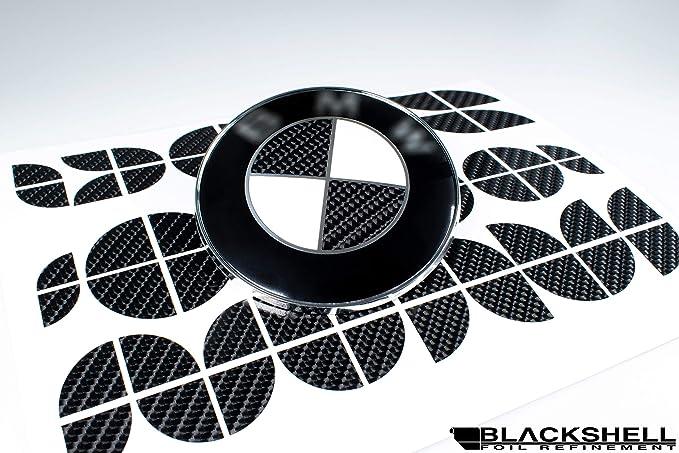58 tlg Set f/ür alle Embleme am Auto in Aluminium geb/ürstet Schwarz BLACKSHELL Emblem Aufkleber