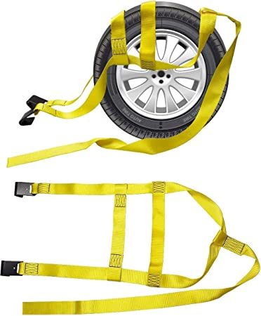 2X Car Basket Straps Adjustable Tow Dolly DEMCO Wheel Net Set Flat Hook Yellow Fits for 13-19