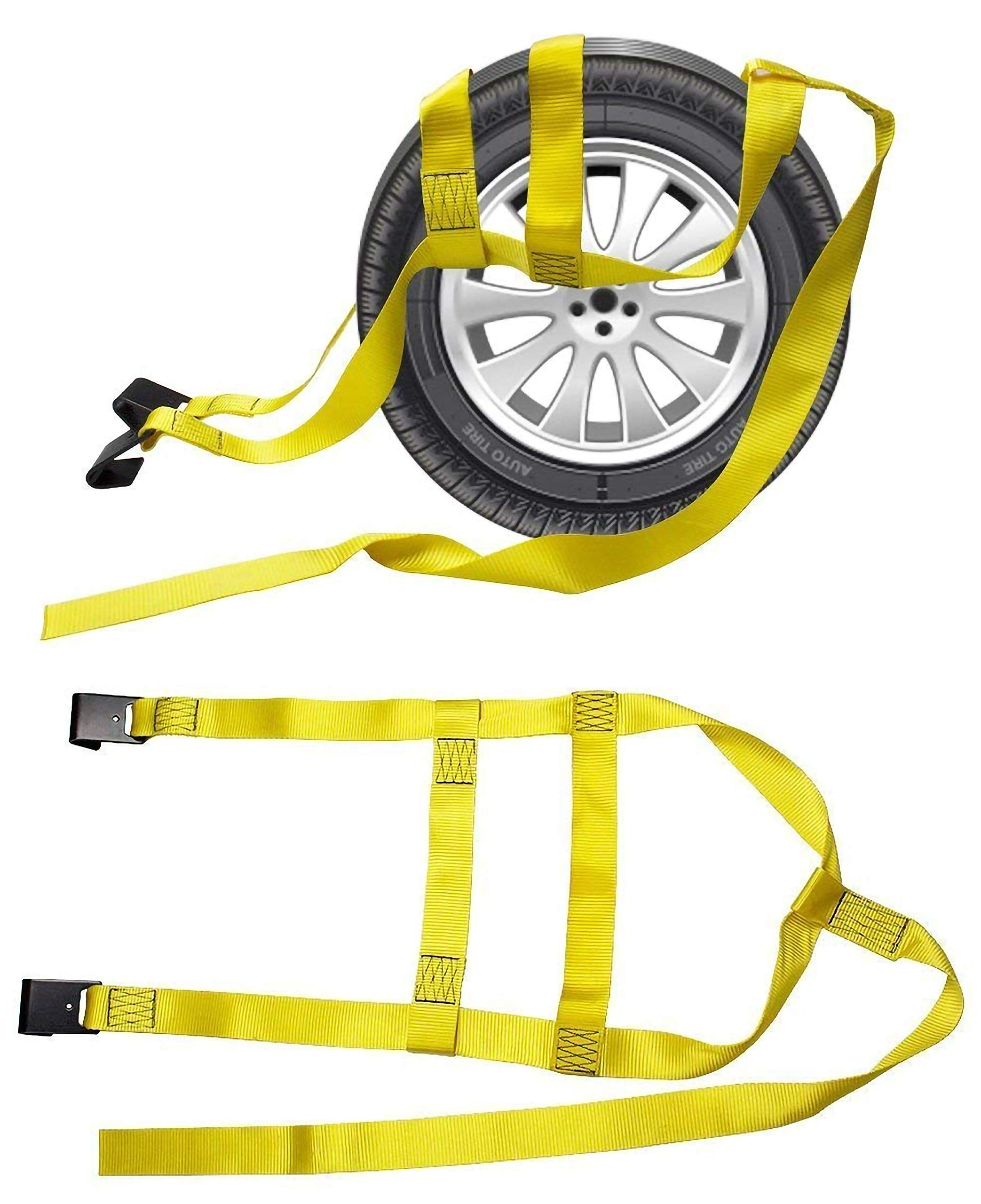 2X Car Basket Straps Adjustable Tow Dolly DEMCO Wheel Net Set Flat Hook Standard Wheels Fits (13-19 Inches, Yellow) by Noa Store