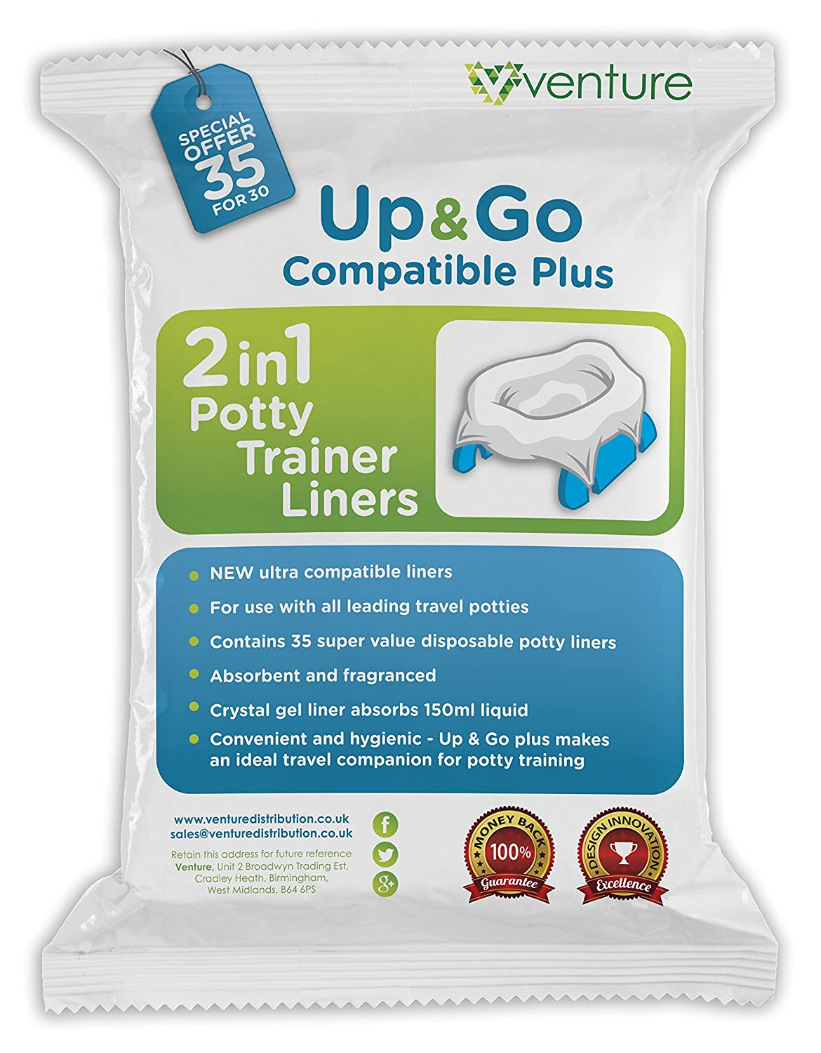35 Pack 2-in-1 portable potty Liners, Suitable For Use With Leading Travel Potties and Pote Plus, Get 35 Up & Go Travel Liner Venture Up & Go | 35