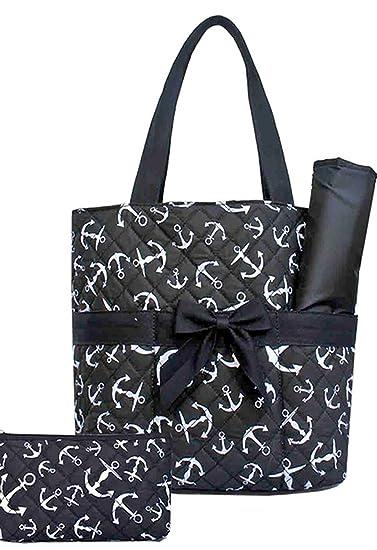 b33686315 Amazon.com : Anchor Nautical 3 Pc Diaper Tote Bag Set w/ Changing Pad Black  : Baby