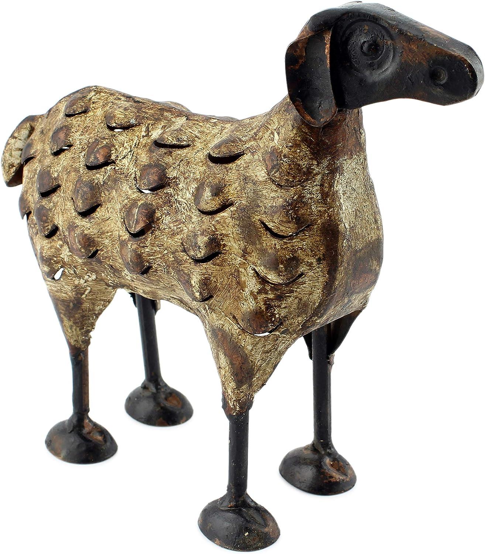 AuldHome Farmhouse Decor Metal Sheep, Primitive Art Style Farm Animal Home and Garden Decor
