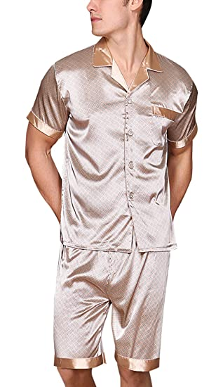 e23250387c63 Yanqinger Men s Silk Pajama Summer Sleepwear Set with a Pocket Button-Down  Design Breathable Polyester