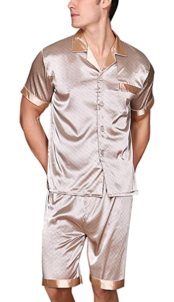 cf0262792d Yanqinger Mens Satin Pajamas Soft Polyester Summer Short Sleepwear Set with  a Pocket Button-Down