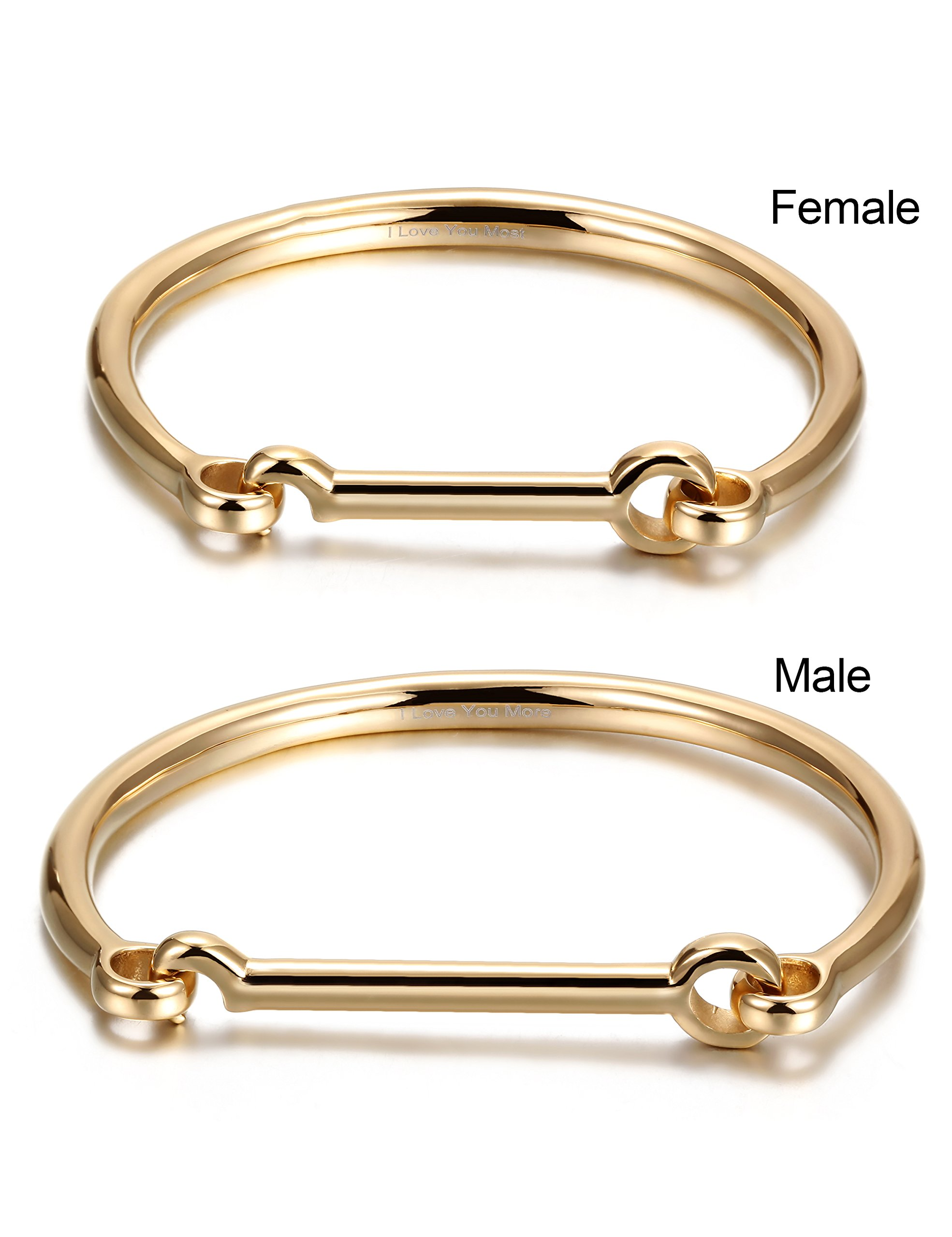 His & Hers Couples Gifts Stainless Steel Flat Head Screw Bar D-shape Cuff Bangle Bracelet Gold (2pcs)
