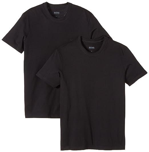 BOSS Hugo Boss Men's Shirt SS RN 2P BM 10111875 01 Plain Crew Neck Short  Sleeve