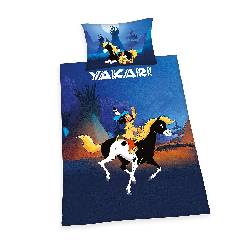 Yakari Kinder Renforce Bettwäsche Regenbogen Kissen mit Wendemotiv