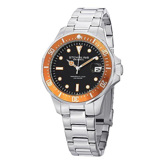 Stuhrling Original Man Aquadiver 664 664.04 - Reloj de pulsera Cuarzo Hombre correa deAcero inoxidable Plateado: Amazon.es: Relojes