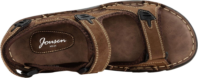 JOUSEN Mens Sandals Leather Open Toe Beach Sandal Outdoor Summer Sport Sandals