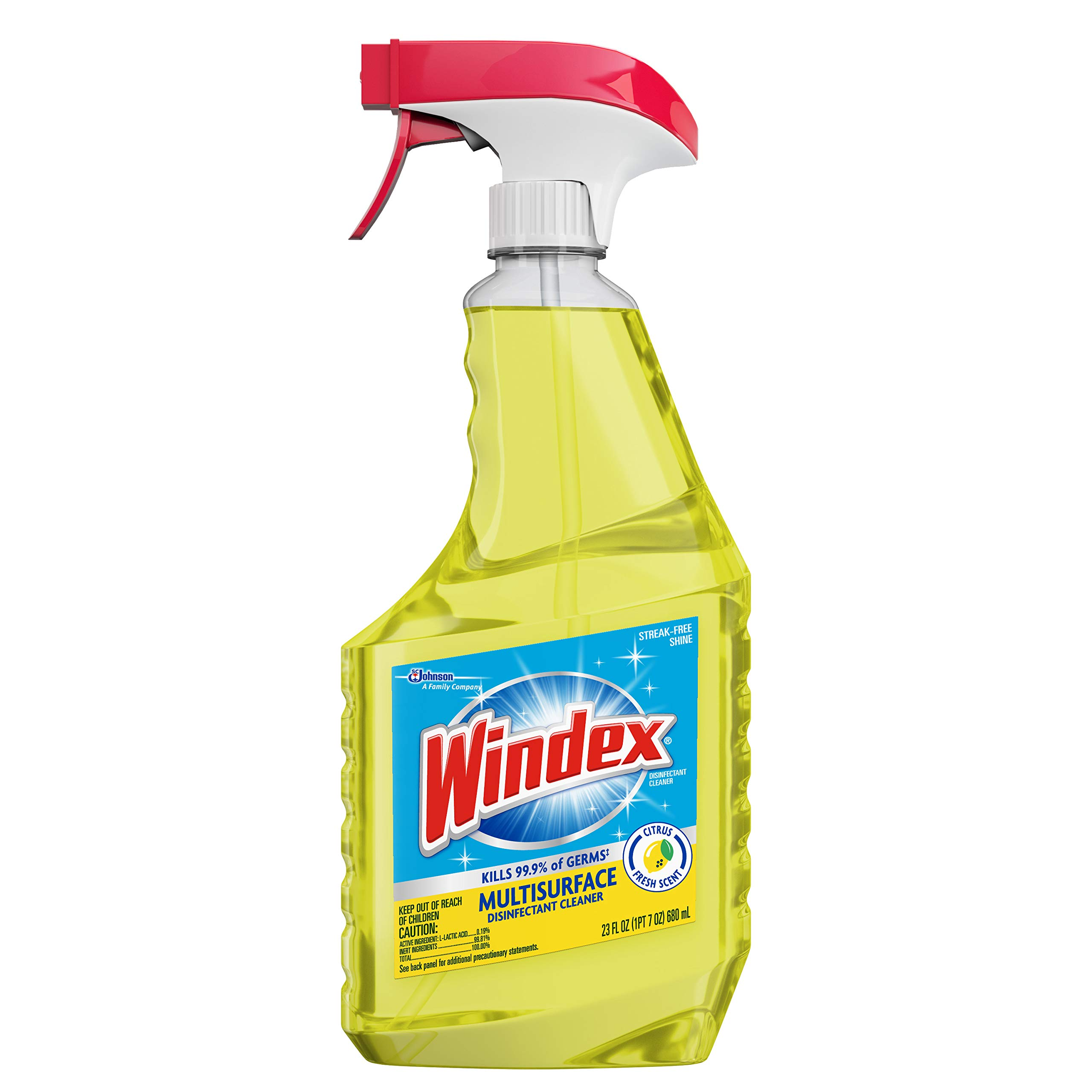 Windex Multi-Surface Disinfectant Cleaner Trigger Bottle, Citrus, 23 fl oz