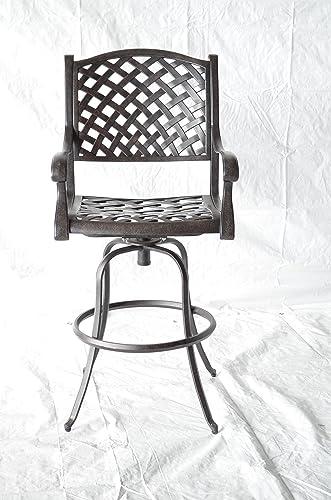 Nassau Outdoor Patio 4 Swivel Barstools 30″ High Cast Aluminum Dark Bronze