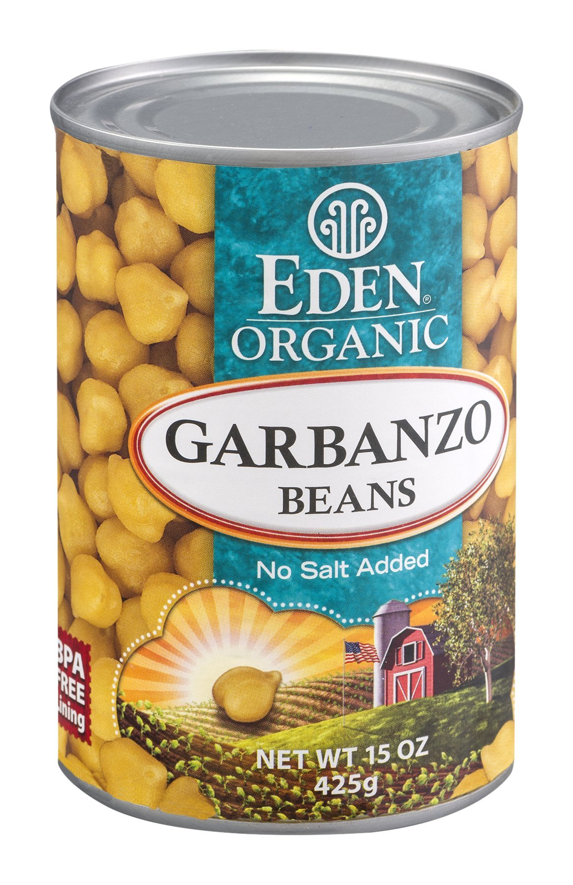Eden Organic Garbanzo Beans, No Salt Added, 15-Ounce Cans (Pack of 12) (Value Bulk Multi-pack)