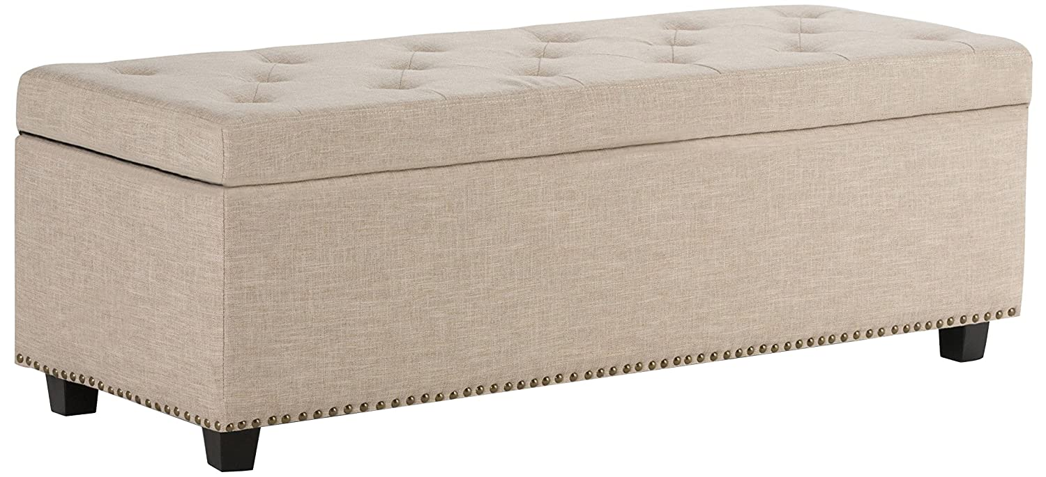 Simpli Home 3AXCOT-239-NL Hamilton 48 inch Wide Traditional Rectangle Storage Ottoman in Natural Linen Look Fabric