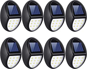 Always on Solar Lights Outdoor 8 Pack, Waterproof Mini Solar Fence Lights for Wireless Lighting in Deck, Step, Porch, Patio, Stair, Garden, Yard, Pathway (10 LED, 5500K)